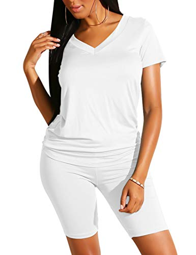 BORIFLORS Women's Causal 2 Piece Outfits Romper V Neck Tops Shorts Set Sexy Club Jumpsuit,Small,White