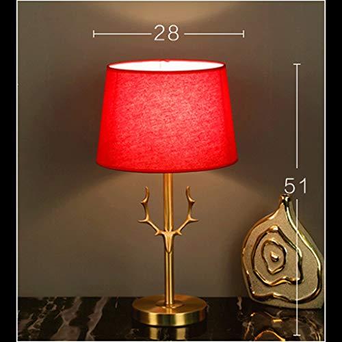 YC electronics Schreibtischlampen Tischlampe Schlafzimmer-Nachttischlampe Aus Kupfer, Tischlampe Aus Nordischem Geweih Schreibtischlampen Tischlampe (Color : Red Linen)