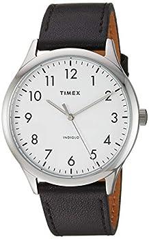 Timex Men s TW2T71800 Modern Easy Reader 40mm Black/Silver/White Genuine Leather Strap Watch