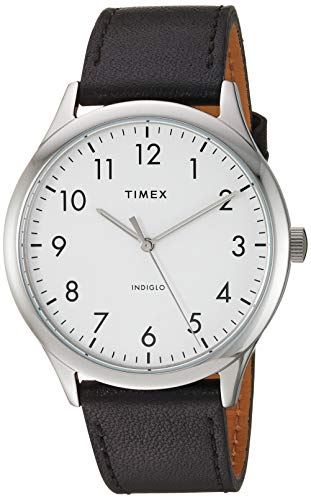Timex Men's TW2T71800 Modern Easy Reader 40mm Black/Silver/White Genuine Leather Strap Watch