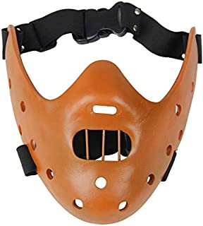 Favorite movie theme mask quality resin mask Silence of the Lambs Hannibal Lecter mask steel teeth (Size : Coffee)