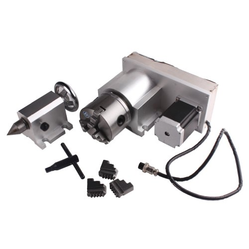 Great Deal! Sunwin CNC F Style A-Axis, 4th-Axis, Router Rotational Rotary Axis 3-Jaw 80mm+Tailstock