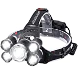 Headlamp, Rechargeable Headlamp for Adults Brightest 6000 High Lumens LED Head Lamp. 18650 USB Headlamps Rechargeable with 4 Modes 90° Adjustable IPX4 Waterproof for Running Fishing Outdoor