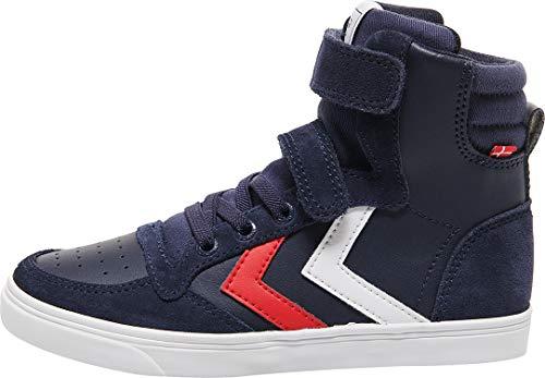hummel Unisex Kinder Slimmer Stadil Leather High Jr Hohe Sneaker, Blau Peacoat 7666, 34 EU