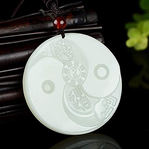 ZYLZL Jade blanco natural Ocho Trigramas Colgante Collar de jadeíta Joyas con dijes Accesorios de moda Tallado a mano Hombre Suerte Amuleto Regalos