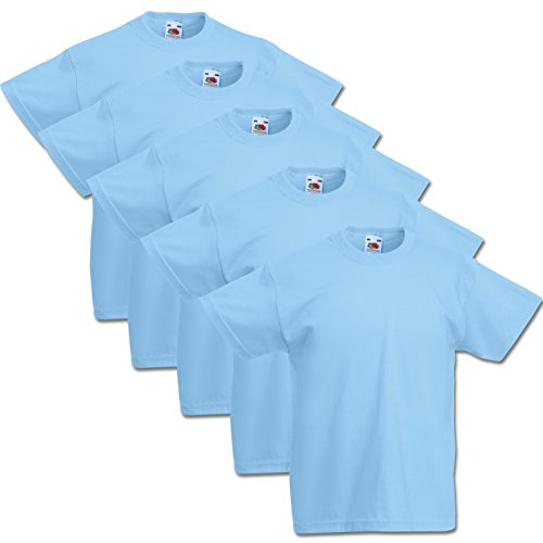 5 Fruit of the loom Kinder T-Shirts Valueweight 104 116 128 140 152 Diverse Farbsets auswählbar 100% Baumwolle (128, Pastellblau)