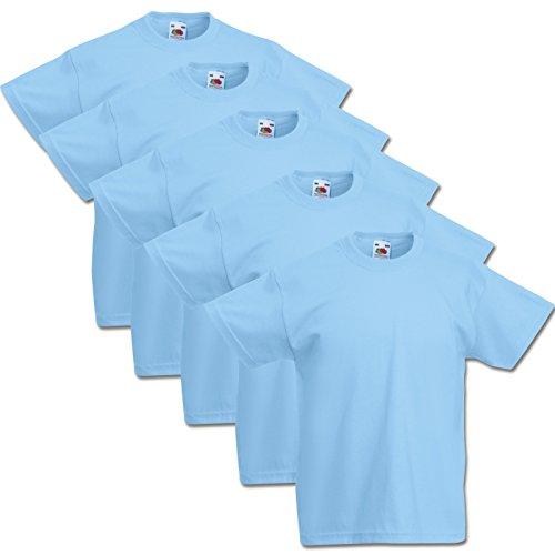 5 Fruit of the loom Kinder T-Shirts Valueweight 104 116 128 140 152 Diverse Farbsets auswählbar 100{eb48618d8a26a6f37fce5c227c26e1373a3a87557bcbc8285110222ccdb50fd7} Baumwolle (152, Pastellblau)