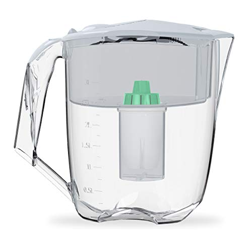 Ecosoft Water Filter Pitcher Jug - BPA-Free - Patent Commercial Grade Ecomix Filter Cleaners - 8 Cups Purified Water, 10 Cup Capacity with 1 Free Cartridge for Home Filtration, White