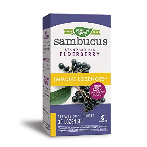 Nature's Way Sambucus Immune Elderberry Lozenges, Herbal Supplements with Echinacea, Zinc, and Vitamin C, Gluten Free, Vegetarian, 30 Count (Packaging May Vary)