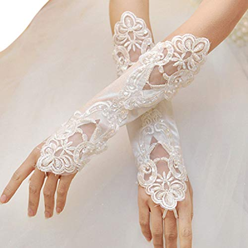 siwetg 1 para Frauen Braut Handschuhe Oper Fingerlose Stickerei Spitze Glitter Pailletten Einfarbig Ellenbogen Länge Handschuhe Haken Finger Hochzeit