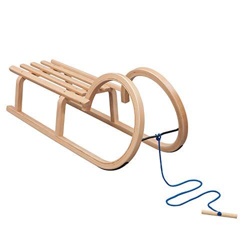 Vispronet Hörnerschlitten, Tragfähigkeit 90 kg, inkl. Zugseil, Holzschlitten für Kinder & Erwachsene, Schlitten-Größe 100 x 34 x 24 cm
