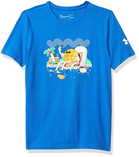 Under Armour Camiseta de Baloncesto de Manga Corta para niño Mr. Buckets, Niños, Manga Corta, 1353540, Versa Blue (486)/White, L