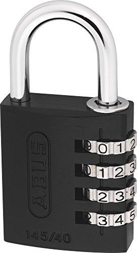 ABUS Zahlenschloss 145/40 Schwarz - Vorhängeschloss aus massivem Aluminium - mit individuell einstellbarem Zahlencode - 34605 - Level 4