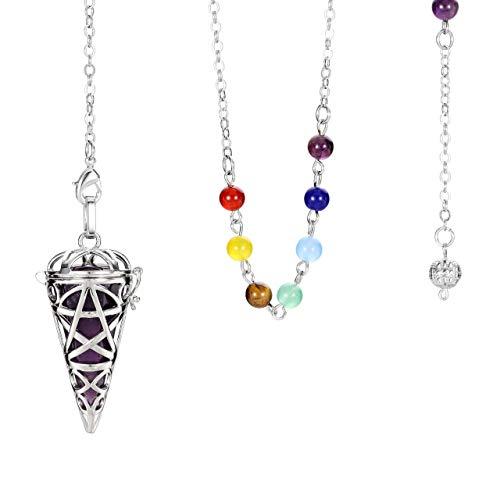 CrystalTears Pendolo Vintage Apribile in Chakra Pietra Naturale Originale Sette Perline e Pendente in Metallo a Stella per Divinazione Radioestesia Cristallo Terapia Chakra