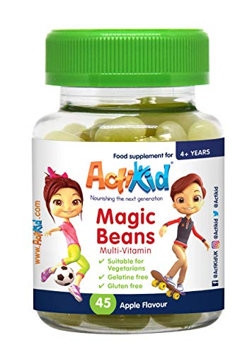 ActiKid Magic Beans Multivitamin 45x Apple Flavour, Gelatine Free, Vitamins for Children, Immune System Booster