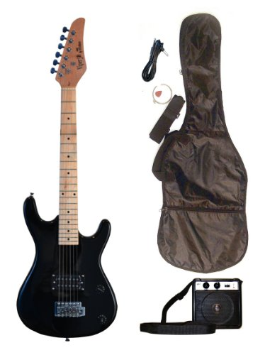 BLACK Junior Kids Mini 3/4 Electric Guitar Amp Starter Pack, Guitar, Temolo, Amplifier, Gig Bag, Strap, Cable, DirectlyCheap(TM) Translucent Blue Medium Guitar Pick