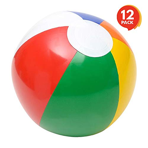 ArtCreativity Rainbow Inflatable Beach Balls - Pack of 12 - Multicolored 8 Inch Floating Bouncing Balls for Pools - Fun Party Favor and Gift for Boys and Girls