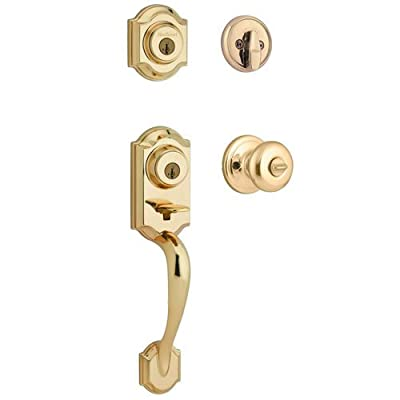 Kwikset featuring SmartKey Montara Single Cylinder Handleset with Juno Knob in Polished Brass