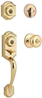 Kwikset Montara Single Cylinder Handleset with Juno Knob featuring SmartKey in Polished Brass
