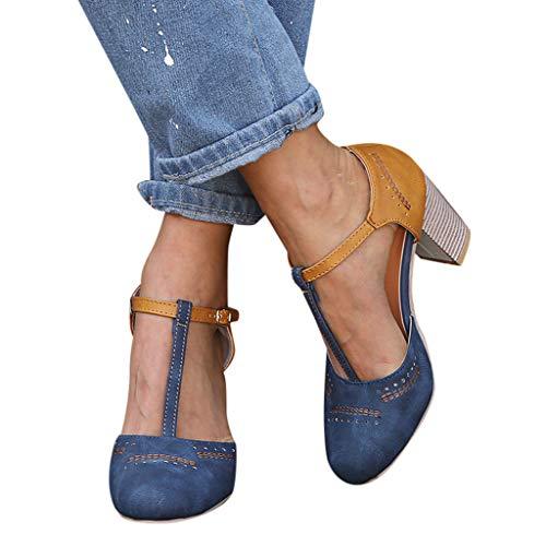 Sandalias para Mujer riou Zapatos de Tacón Medio Mujeres Cabeza Redonda tacón Alto Primavera Verano Casual Sneaker Sandalias de Vestir Chanclas Negro Gris Azul 35-43