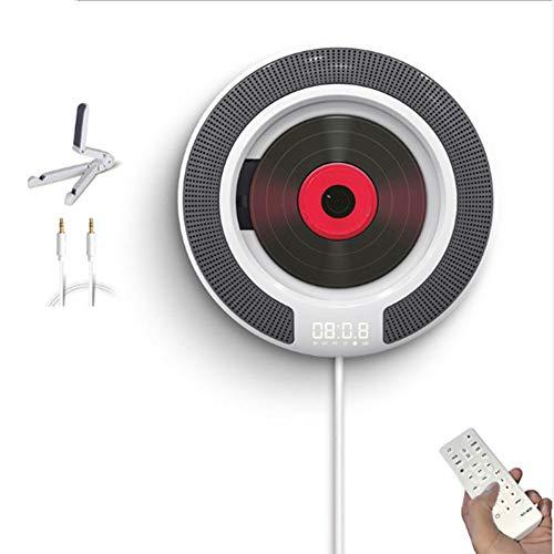 FASD Tragbare Bluetooth-CD-Player mit Fernbedienung, Wandmontage FM Radio Built-In HiFi Lautsprecher mit Fernbedienung mit Kopfhörerbuchse