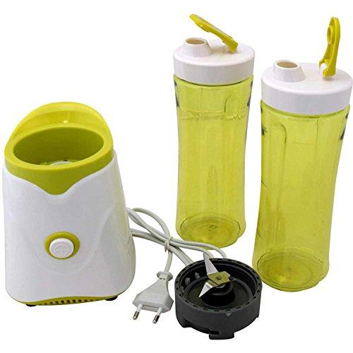 AFK Smoothiemaker Shake & Take Mini Smoothie Mixer 250 Watt mit zwei Bechern Ice Crusher Gehäuse Grün/Weiß