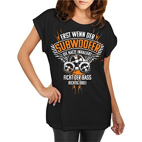 Frauen und Damen T-Shirt BASS Musik Sprüche Erst wenn der Subwoofer die Katze inhaliert Größe XS - 5XL