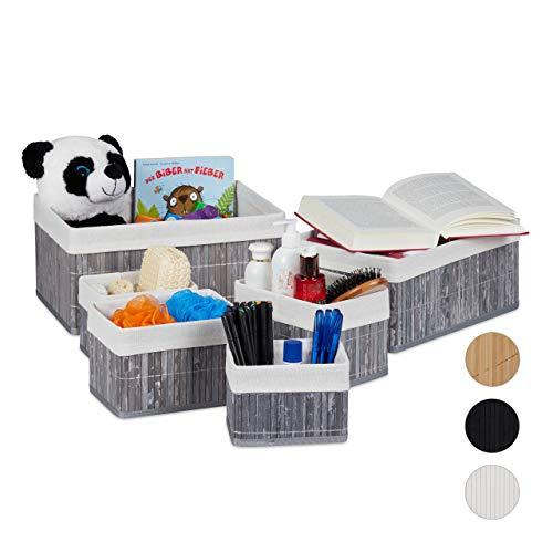 Relaxdays bewaarmand set van 6, met stoffen bekleding, bamboe, rechthoekig, badkamer, accessoires, decoratieve organizer, grijs