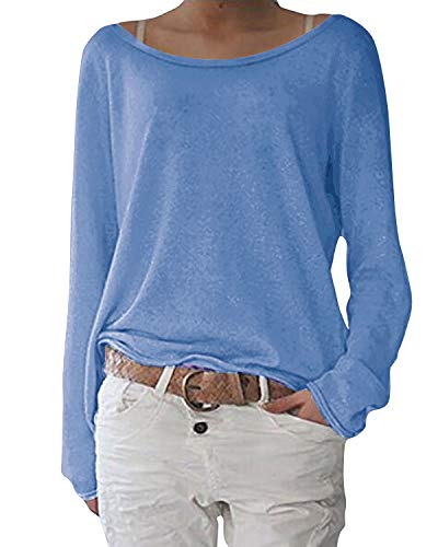 ZANZEA Damen Langarm Lose Bluse Hemd Shirt Oversize Sweatshirt Oberteil Tops Himmelblau X-Large