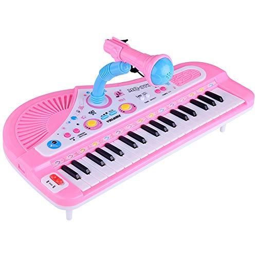 PUDDINGT® 37 Tasten Klavier Spielzeug - Elektronische Tastatur Musikspielzeug Set Kinder Kleinkinder singen Musikentwicklung,Pink