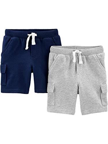 Simple Joys by Carter's - Pantalones Cortos de Punto para niño, Color Azul Marino/Gris, 2T