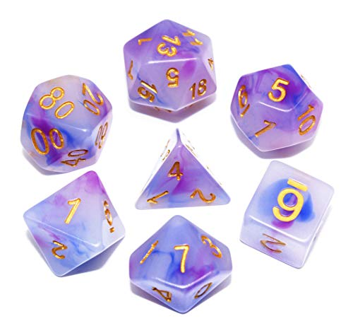 DND Polyhedral Dice 7-Die Dice Set Fit Dungeons and Dragons D&D Pathfinder RPG MTG Role Playing Games Table Games Ink Elements Series Dice(Purple & Blue)
