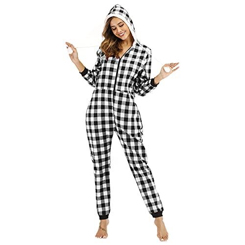 Pijama Algodón de una Pieza Invierno para Mujer Cremallera a Cuadros Pijama Encapuchado Calentito Ropa de Casa Dormir,Negro,XXL
