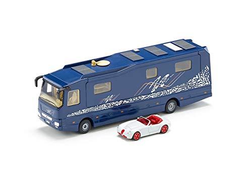 siku 1943, Volkner Wohnmobil, 1:50, Metall/Kunststoff, Blau, Inkl. Spielzeugauto, Bewegliche Teile