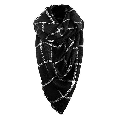 Winterschal schwarz/weiss Damen Oversized Schal Deckenschal Herbstschal Übergroßer Damenschal