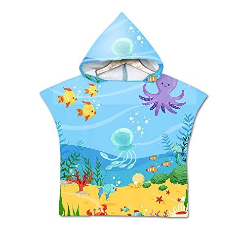 Badeponcho Strandtuch mit Kapuze für Kinder, Treer Mikrofaser Bademantel Badetuch Schnelltrocknen Wechselkleider Super Wasser Poncho Handtuch Für Kinder Jungen Mädchen (60X60cm,Blauer Ozean)