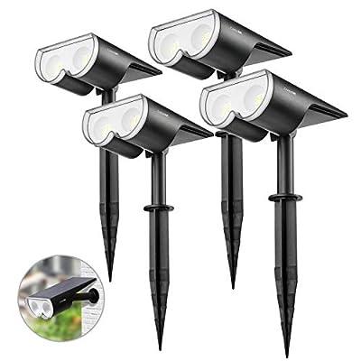 Consciot 4 Pack 16 LED Solar Landscape Spotlights, Dusk-to-Dawn IP67 Waterproof Solar Lights Outdoor, Solar Powered Spot Light for Garden Yard Patio Walkway, FCC CE Certified(Cool White)