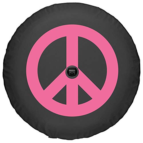 Boomerang - 32' Soft JL Tire Cover for Jeep Wrangler JL (with Back-up Camera) - Sport & Sahara (2018-2020) - Peace Sign - Pink