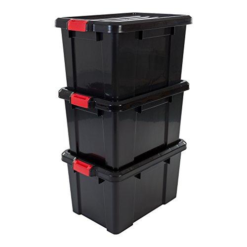 Iris 'Power Box' Opbergdozen, Set van 3, SK-450, met Kliksluitingen, Plastic, 50 L, 59 x 38,5 x 32 cm, Zwart