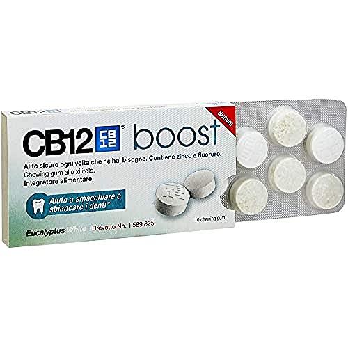 CB12 Boost Eucalyptus White Gomme da Masticare per Prevenire l'Alito Cattivo e Migliorare l'Igiene Orale,10 Chewing Gum - 20 g