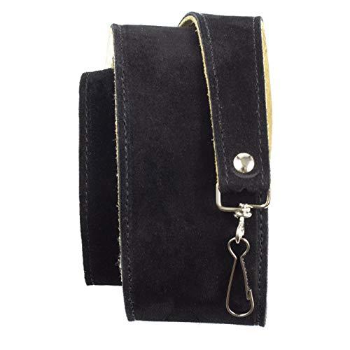 Perri's Leathers Ltd. - 1 Correa para Banjo - Acolchado de Piel de Oveja - Cuero - Longitud Ajustable - Negro - BJ-STRP-6695