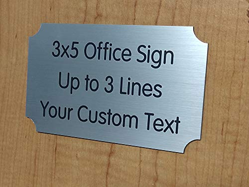 Custom Engraved 3x5 Office Sign   Personalized Name Plate   Silver Wall Door Plaque   Adhesive Backed