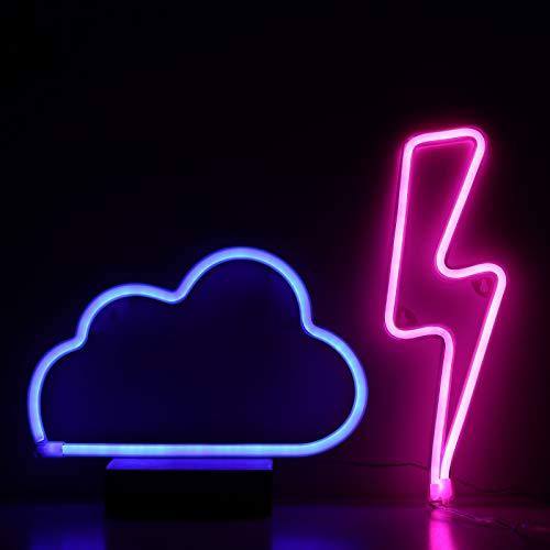 Neon Signs Pink Lightning Bolt+Blue Cloud Light Battery & USB Powered LED Decorative Night Lights Wall Art Decor for Gaming,Man Cave,Kid