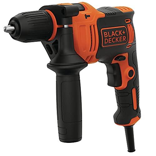 Black+Decker BEH710-QS Taladro percutor con Cable 710W, portabrocas 13mm, incluye 4 Brocas