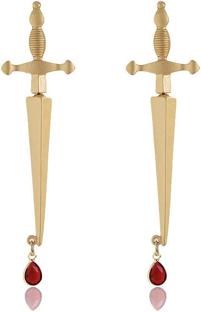 2pcs sword earrings cool gold plated hoop gothic dagger earrings pirate jewelry for women Men