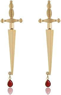 2 قطعة الأقراط السيف بارد مطلي بالذهب طوق خنجر القوطي الأقراط مجوهرات القراصنة للنساء الرجال
