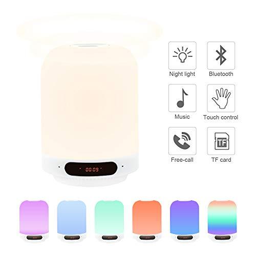 LED Nachtischlampe Bluetooth Lautsprecher RGB mit 3 Helligkeit Touchlampe Dimmbar Wake-Up Licht mit FM Radio, USB-Kabel Unterstützt SD Karte Lautsprecher Boxen Beste Geschenke für Kinder/Freunde