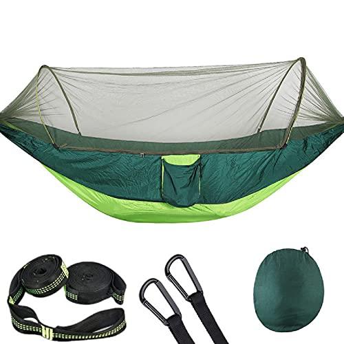 Hamaca de camping con mosquitero, luz pop-up portátil al aire libre, hamacas de paracaídas, hamaca para dormir, camping, cama de descanso