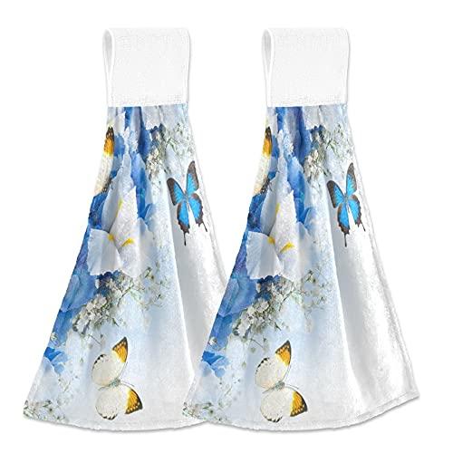 Oarencol Flores mariposa azul hortensias blancas lirios cocina toalla de mano absorbente colgante toallas con lazo para baño 2 piezas