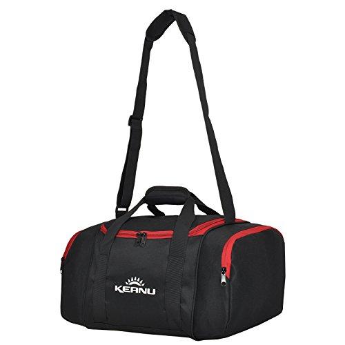 KEANU Praktische Sporttasche 43 Liter :: faltbar, Wäschefach, Wertfach Fitness Yoga Sauna :: Grosse multifunktionale Tasche für Gym Sport Reise Wellness :: Reisetasche Small (Schwarz Rot)